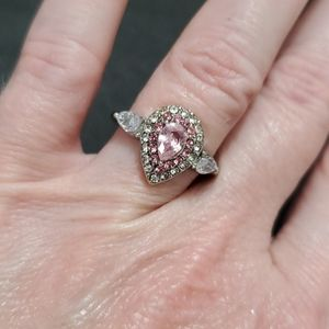 Silver tone pink and clear rhinestone ring
